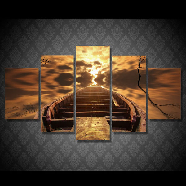 Home Decor Living Room Wall HD Printed Pictures 5 Piece/Pcs Small Boat Dusk View Art Painting Modular Canvas Poster Framework