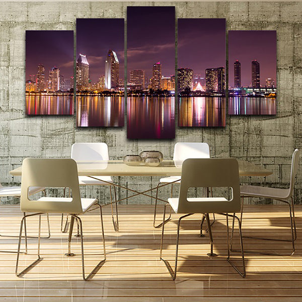 Decoration Posters Frame Living Room HD Printed 5 Piece/Pcs City Night Modular Picture Wall Art Home Modern Painting On Canvas