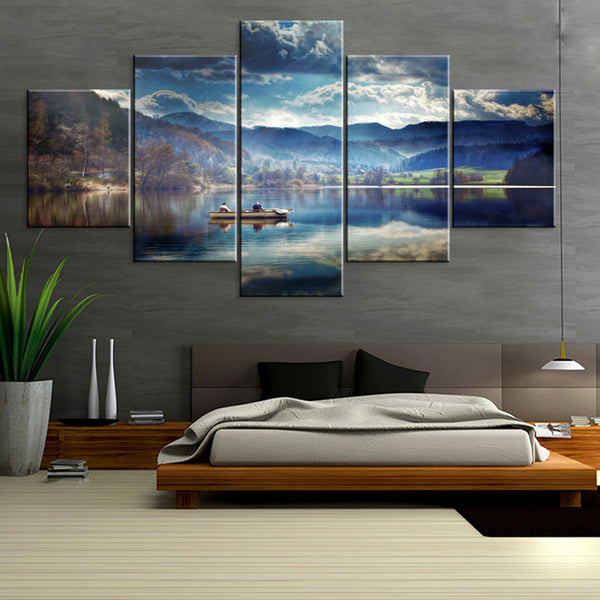 Wall Art Painting Modular Pictures Framework HD Printed 5 Piece/Pcs Lake Nature Landscape Home Decor Living Room Modern Canvas