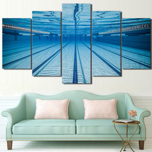 Modern Canvas Poster Framework Living Room 5 Piece/Pcs Swimming Pool Painting Wall Art Modular HD Printed Pictures Home Decor