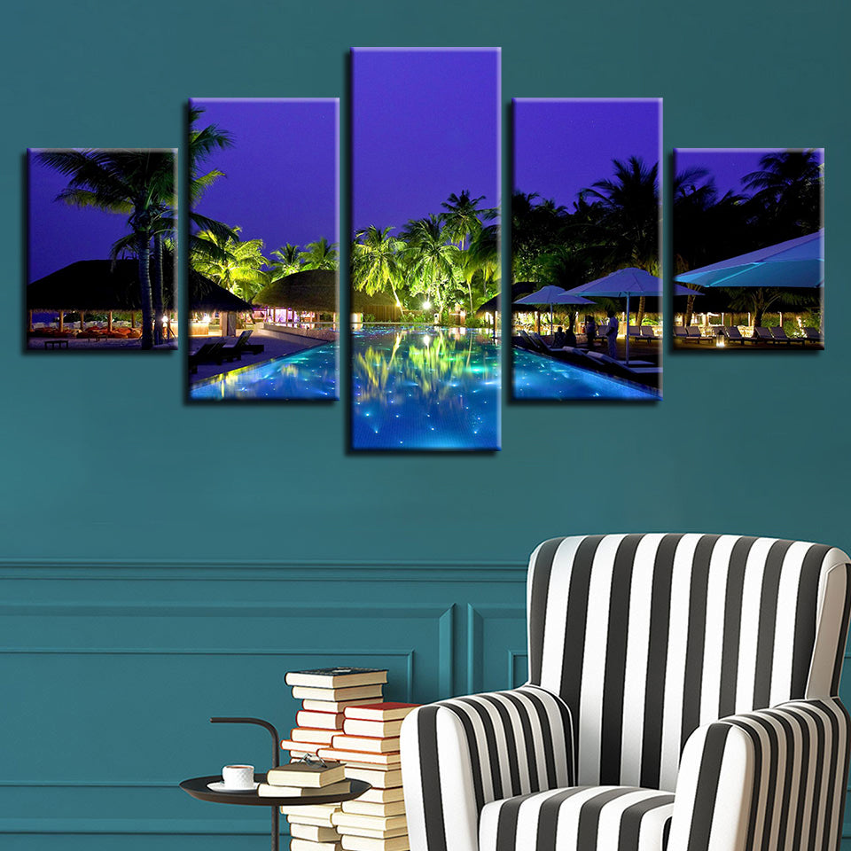 HD Printed Canvas Poster Frame Home Decor 5 Panel Night View Of The Swimming Pool Living Room Wall Art Painting Modular Pictures