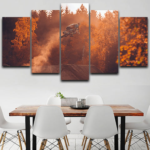 Modern Wall Art Pictures Frame HD Printed 5 Panel Mountain Biking Autumn Landscape Home Decoration Poster Living Room Painting