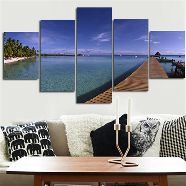 Wall Art Modular Poster Home Decor Pictures Painting 5 Piece/Pcs Blue Sea Beach Framework HD Printed Modern Canvas Living Room