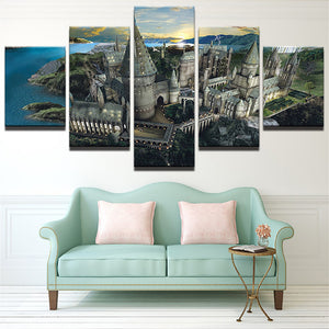 HD Printed Painting Home Decoration Posters Frame 5 Panel Harry Potter Castle Landscape Modern Wall Art Pictures Living Room