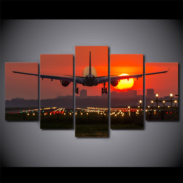 Modular Vintage Art Canvas Wall Poster Tableau Picture 5 Panel Plane Red Sunset Home Decor Print Painting For Living Room