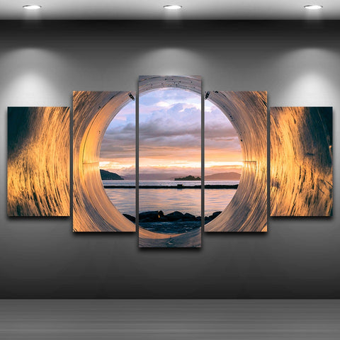 Wall Art Painting Modular Poster Modern Home Decor 5 Panel Tube Sunset Ocean View Frame Living Room Canvas HD Print Pictures