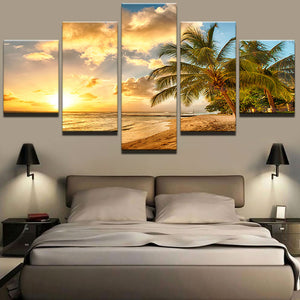 Modern Wall Art Pictures Home Decoration Posters 5 Panel Palm Trees Sea Sunset Landscape Frame Living Room HD Printed Painting