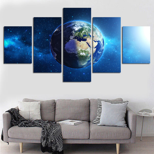 Tableau Wall Art HD Printed Pictures Canvas 5 Piece/Pcs Universe Earth Landscape Home Decor Modern Paintings Modular Posters