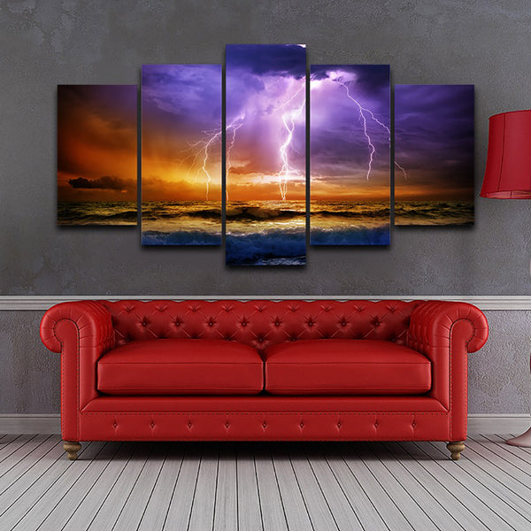 Pictures HD Home Painting Wall Art Modular Poster 5 Piece/Pcs Sea Lightning Modern Canvas Living Room Framework Decor Printed