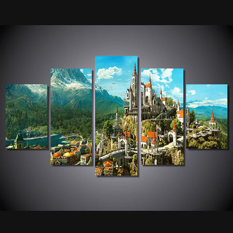 HD Frame Home Decor Canvas Painting Poster 5 Piece/Pcs Castle Mountain Landscape Modern Wall Art Living Room Printed Pictures