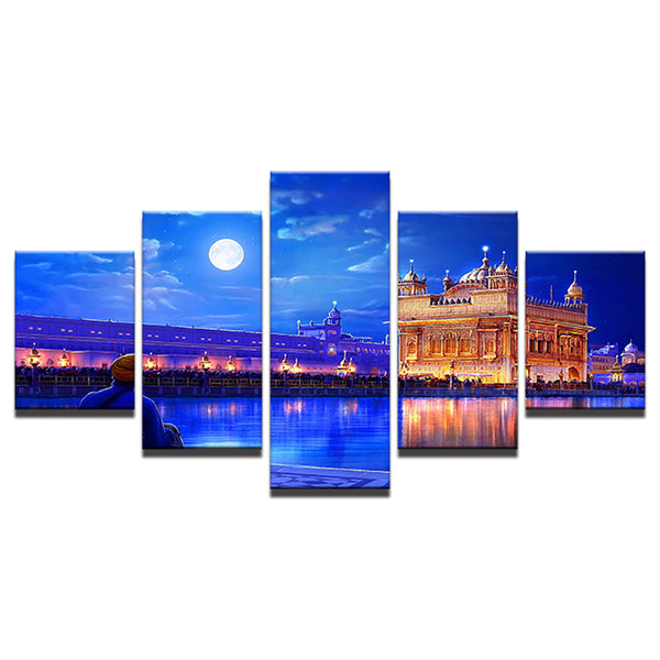 Modern Canvas Living Room Pictures Painting 5 Panel Indian Golden Temple Frame HD Printed Wall Art Modular Poster Home Decor