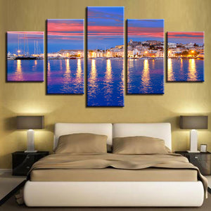 Modular Canvas Art Posters Prints Painting Wall Framework 5 Panel Beautiful Sunset Sea View Pictures For Living Room Home Decor