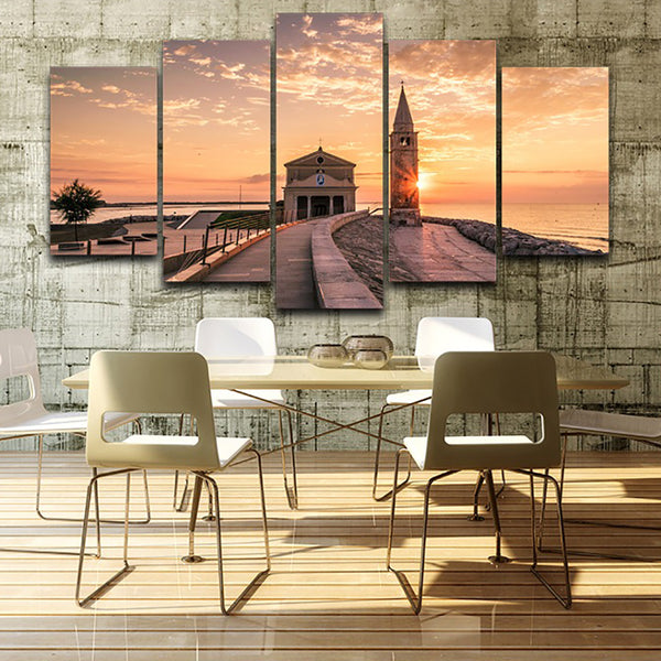 Wall Art Living Room Home Decor Printed Pictures 5 Panel Church Sea Sunset Landscape Modern HD Framework Canvas Painting Poster