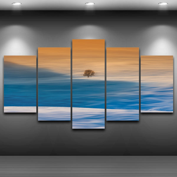 Canvas HD Print Painting Wall Art Poster Modular Pictures 5 Panel Desert And Tree Landscape Frame Modern Home Decor Living Room