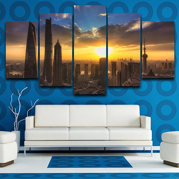 Living Room Pictures Painting Wall Art Modular 5 Panel City Sunrise Landscape Frame HD Printed Modern Canvas Poster Home Decor