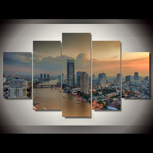 HD Frame Home Decor Canvas Painting Poster 5 Piece/Pcs Riverside City Dusk View Modern Wall Art Living Room Printed Pictures