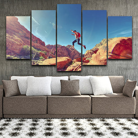 HD Printed Canvas Wall Pictures Poster Framework 5 Panel Climber Jump Mountain Artwork Painting Modular Home Decor Living Room