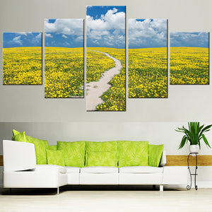 HD Home Decor Printed Pictures Painting 5 Piece/Pcs Yellow Flower Field Modern Canvas Living Room Frame Wall Art Modular Poster