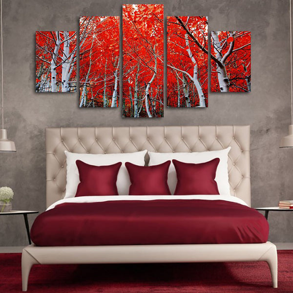 Decoration Posters Framework Living Room HD Printed 5 Piece/Pcs Red Autumn Maple Leaf Modern Wall Art Pictures Home Painting