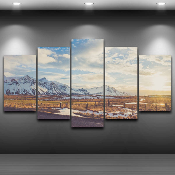 Poster HD Print Frame Home Decor Living Room Wall 5 Panel Snow Mountain Grassland Scenery Art Painting Modular Canvas Pictures