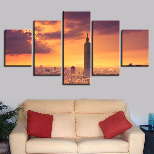 Frame Wall Art Poster Modern Home Decor Living Room 5 Panel Setting Sun Building Canvas HD Print Painting Modular Pictures