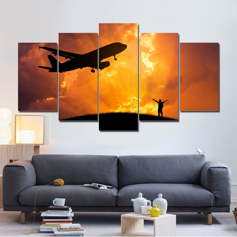 Framed HD Printed Modern Wall Art Canvas 5 Piece/Pcs Airplane Sunset Scenery Home Decor Living Room Painting Modular Pictures