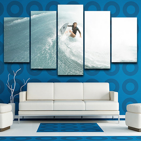 For Living Room Modern HD Printed Home Decor Pictures 5 Panel Surfer Girl Sea Wave Wall Art Framework Canvas Painting Posters