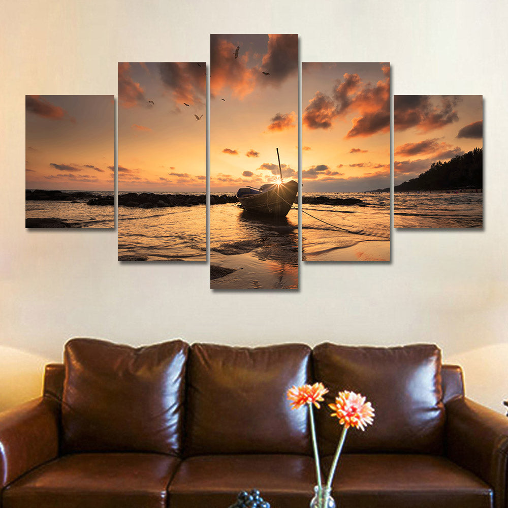 Posters Prints Painting Wall Framework Pictures 5 Panel Seascape Landscape Modular Canvas Art  For Living Room Home Decor