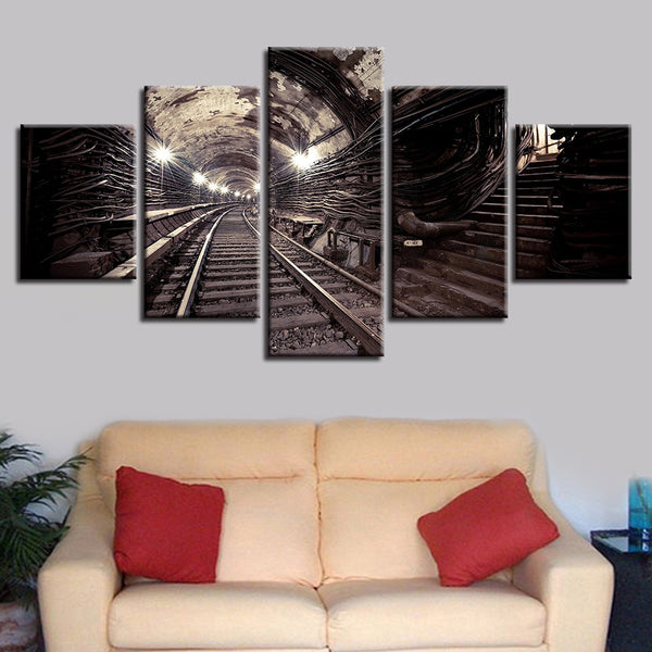 Framework Canvas Painting Wall Art Abstract Decorative 5 Panel Train Tunnel Modular Pictures For Living Room Bedroom Prints