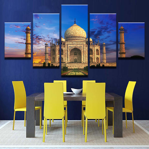 Home Decor Poster Frame Living Room 5 Piece/Pcs Taj Mahal Dusk Scenery Modern Painting On Canvas Wall Art Pictures HD Printed