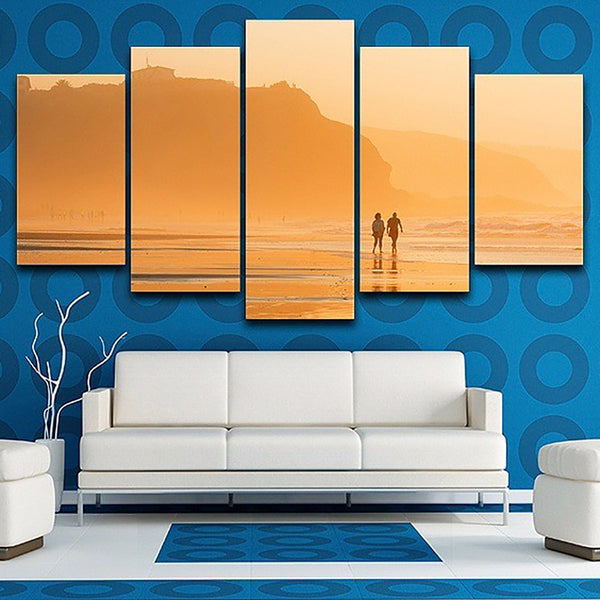 Canvas Painting Poster Wall Art Living Room Printed 5 Piece/Pcs Sunset Dusk Beach View Modern HD Framework Home Decor Pictures