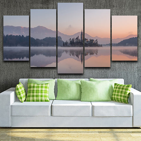 HD Frame Home Decor Canvas Painting Printed Pictures 5 Panel Lake Castle Mountain Landscape Modern Poster Wall Art Living Room