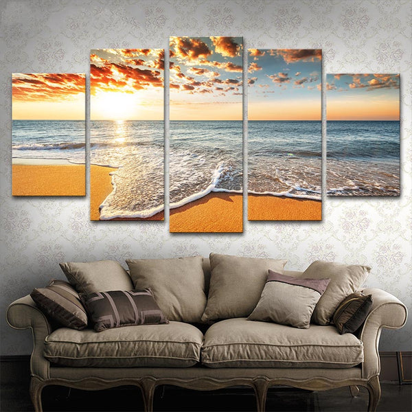 Painting Art Poster Modular Picture 5 Pieces Sunshine Beach Sea Waves Seascape Home Decor For Living Room Printed On Canvas Wall