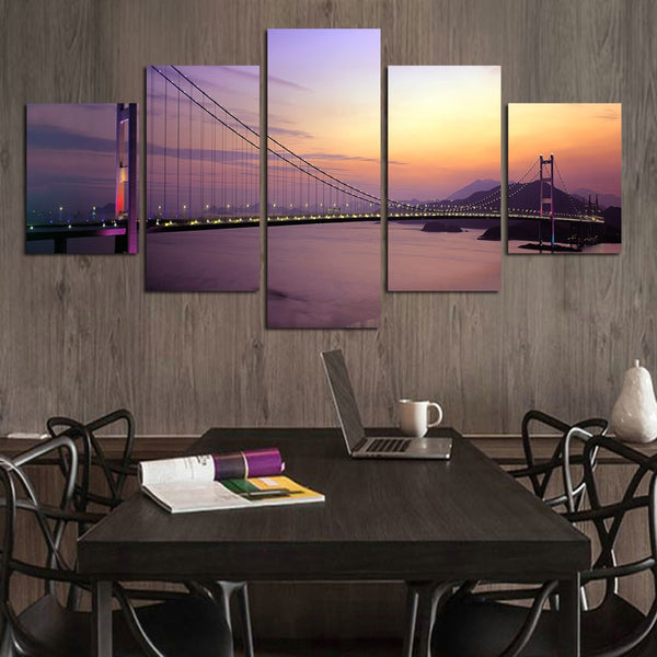Frame Living Room Wall Art HD Printed Pictures 5 Piece/Pcs Bridge Dusk Landscape Modern Painting On Canvas Home Decor Posters