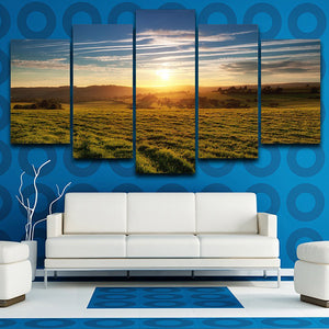 Home Decor Canvas Painting Poster Wall Art Living Room 5 Panel Sunrise Forest Grassland Modern HD Framework Printed Pictures