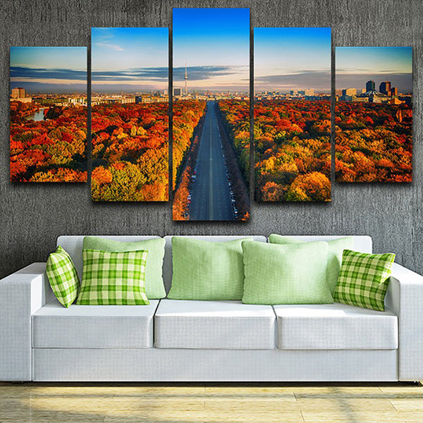 Art Painting HD Printed Canvas Poster Home 5 Panel City Road And Autumn Tree Framework Wall Decor Living Room Modular Pictures