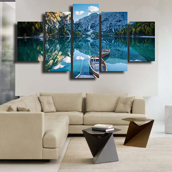 Living Room HD Printed Home Decoration Painting 5 Piece/Pcs Mountain Clean Lake Scenery Modern Wall Art Pictures Posters Frame