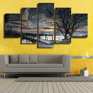 For Living Room Modern HD Printed Canvas Painting 5 Piece/Pcs Winter Nature Landscape Wall Art Home Decor Frame Poster Pictures