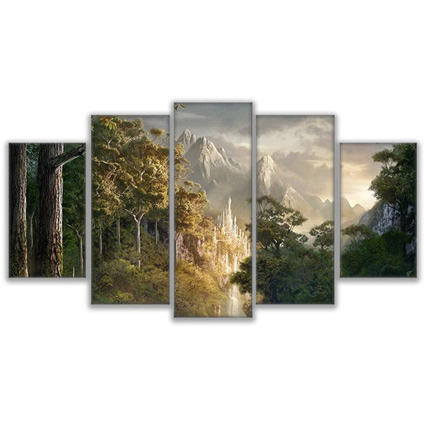 Picture Kids Room Poster Modern Frames For Paintings Decor Canvas 5 Panel Lord Of The Rings Scene Art Prints Wall Modular