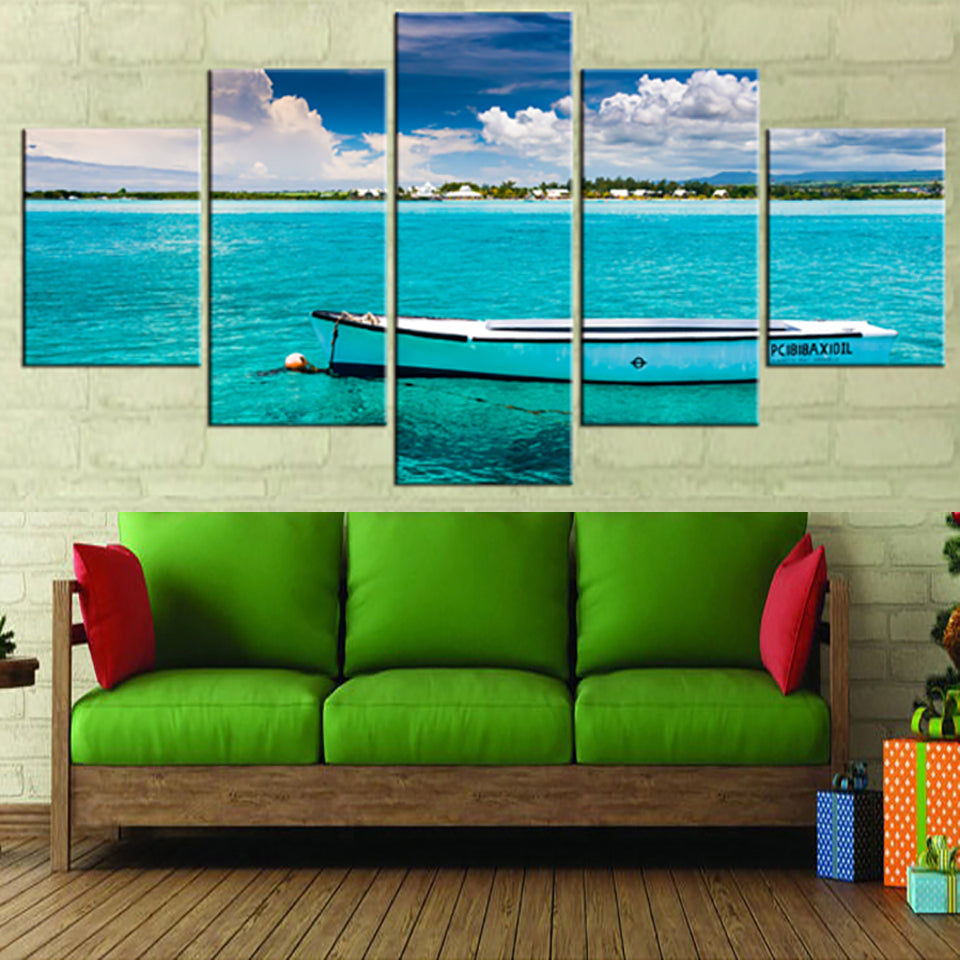 Wall Art Living Room Printed Pictures 5 Piece/Pcs Azure Ocean Boat Scenery Modern HD Frame Home Decor Canvas Painting Poster