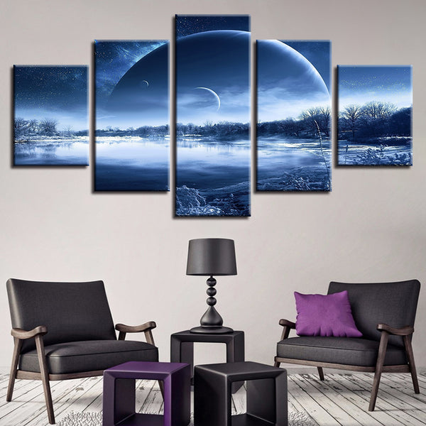 Painting Wall Art Modular Poster Frame HD Printed Modern 5 Panel Tree Lake Landscape Canvas Living Room Pictures Home Decor