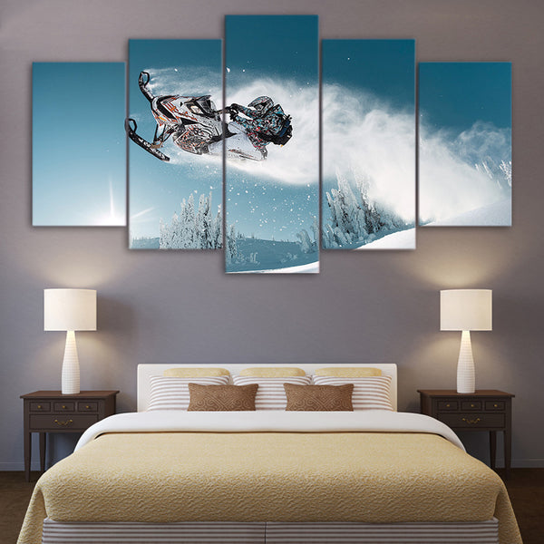 Wall Art Living Room Home Decor Printed Pictures 5 Piece/Pcs Snow Mountain Skiing Modern HD Framework Canvas Painting Posters