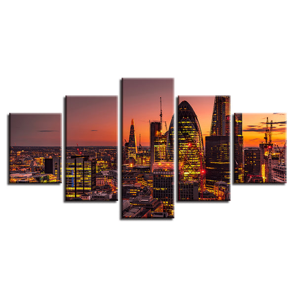 Home Decor Print Painting Modular Vintage Art Canvas 5 Panel Sunset Architecture Scenery Wall Picture For Living Room Poster