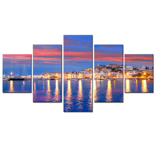 Modern Wall Art HD Printed Pictures Frame 5 Piece/Pcs Urban Harbour Night Landscape Home Decoration Poster Living Room Painting