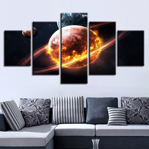 Abstract Canvas Art Poster Style Wall Pictures For Living Room 5 Panel Flame Planet Cuadros Modern Decoration Paintings