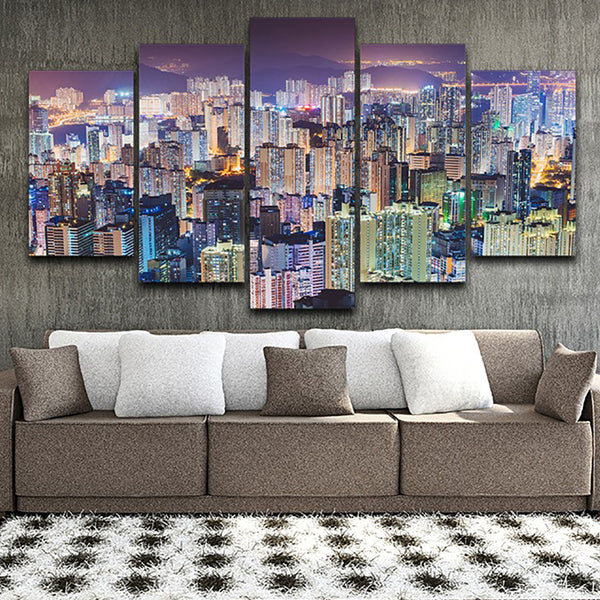 Modern HD Printed Pictures Frame Home Decor Canvas 5 Panel Colorful City Night Scenery Painting Posters Wall Art Living Room