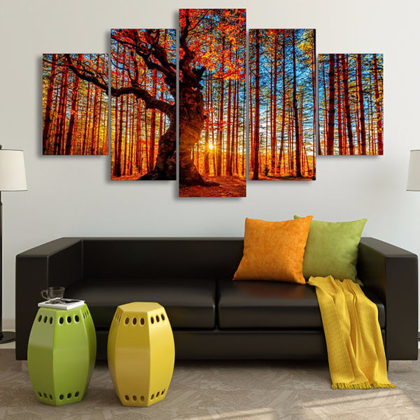 For Living Room Modern HD Printed Pictures 5 Piece/Pcs Autumn Forest Trees Wall Art Home Decor Frame Canvas Painting Posters