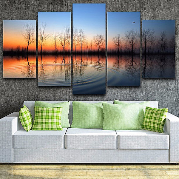 For Living Room Modern HD Printed Pictures 5 Piece/Pcs Sunset Lake Tree Wall Art Home Decor Framework Canvas Painting Poster