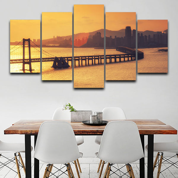 Home Decor Living Room Wall HD Printed Pictures 5 Panel Bridge Sunset Dusk Scenery Art Painting Modular Canvas Posters Frame