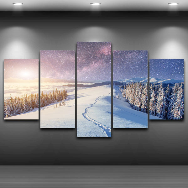 Tableau Wall Art HD Printed Paintings Modular Pictures Canvas 5 Panel Snow Mountain Forest Scenery Home Decor Modern Posters